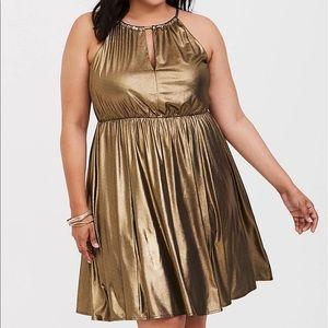 TORRID Gold Shimmer Halter Skater Dress 2X